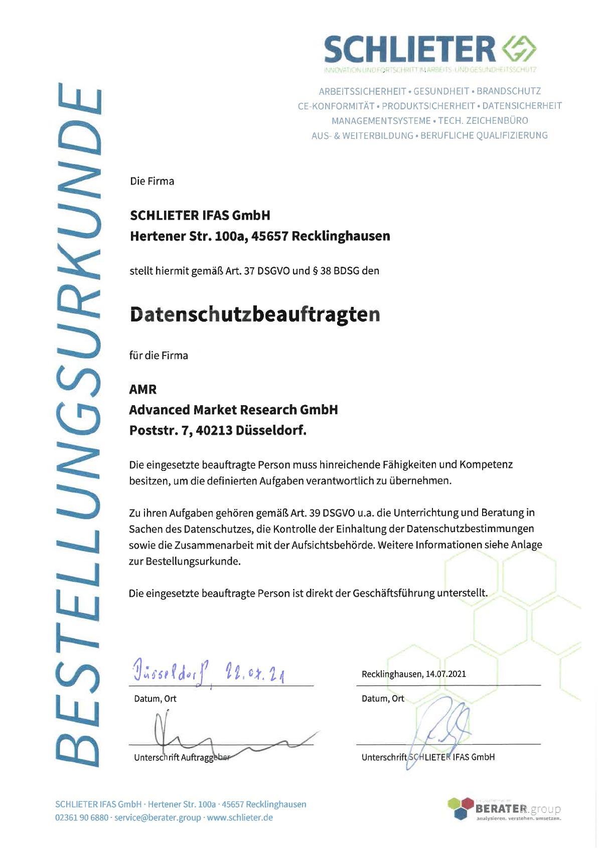 Urkunde IFAS Datenschutzbeauftragter für AMR Advanced Market Research